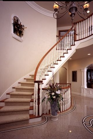 Wood Balustrade Curved Stairways